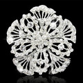 Silver Alloy Top Quality Austria Crystals Large Flower Costume Brooch For Wedding Party Luxury Gift Jewelry