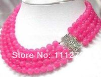 Accessory Crafts Parts Ornament Jewelry Beads 4Rows 8MM Pink Necklace Wholesale Chalcedony Stones Balls Gifts Fitting Female