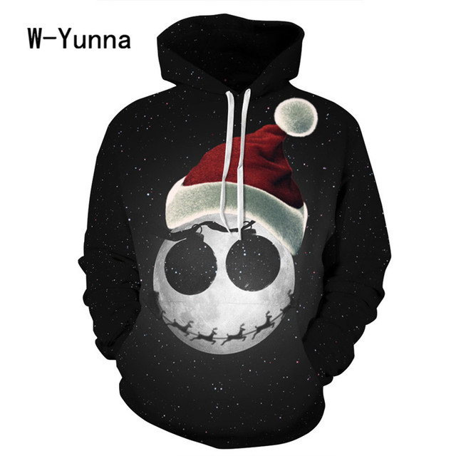 2017 Newest 3D Print Christmas Halloween Skull Theme Pullover Hoodies for Women/men Causal Loose Plus Size Sweatshirts Femme 3