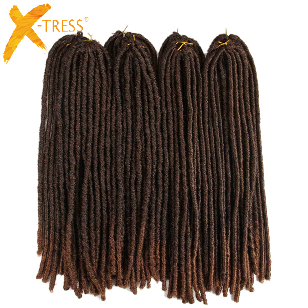 X-TRESS 18inch Soft Dreadlocks Crochet Braids Jumbo Dread Hairstyle Ombre Color Synthetic Faux Locs Braiding Hair Extensions