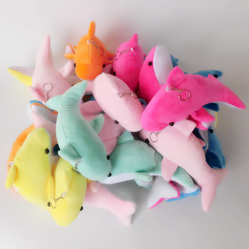 2pcs 10cm Stuffed Animals Plush Toys Keychains Dolphin Plush Toy Hot Cute Educational Toys For Children Llavero Kawaii Oyuncak