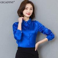 Mulheres de cetim de seda blusa botão de manga longa de Ouro Branco Vermelho preto lapela blusas das senhoras trabalho de escritório elegante fêmea de cetim de seda camisa
