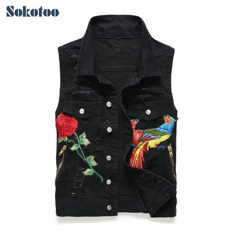 Sokotoo Men's rose flower eagle embroidered vest Fashion embroidery ripped denim vest Black white-in Vests & Waistcoats from Men's Clothing    1