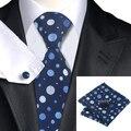2016 dos homens de Moda Gravata De Seda Azul Cornflowerblue Cinza Dot Laços Abotoaduras Lenço Conjunto Gravata Laços Para Os Homens de Negócios de Casamento C-918