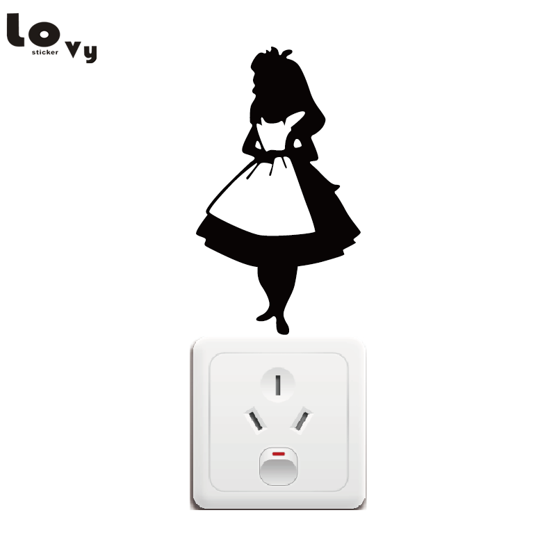 Alice in Wonderland Switch Sticker Cartoon Alice Vinyl Wall Stickers for Kids Room Home Decor
