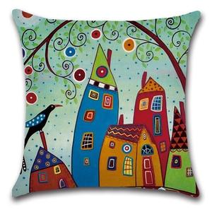 Image 5 - Housse doreiller, motif abstrait, peint à la main, à géométrie jaune, décoration pour chambre denfant, canapé, Art abstrait