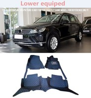 Interior Black Leather Red Stitches Floor Mat Carpet For Volkswagen Touareg Lower equipped/ High equipped 2011 2016Typ 7P 5 door