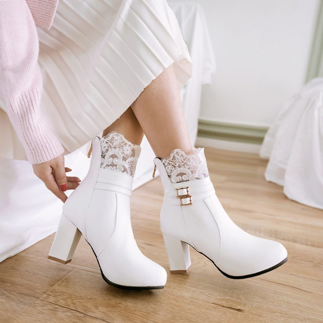 PXELENA Elegant Buckle Lace White Pink Beige Bridal Wedding Ankle Boots  Chunky Block Square High Heels Short Boots Women 34-43 2cdefc30ca82