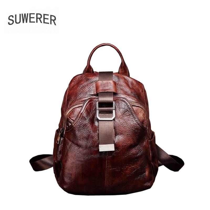 SUWERER haute qualité mode luxe marque en cuir sac à bandoulière 2019 nouveau sac à dos décontracté couche supérieure à la main en cuir mini rétro ha