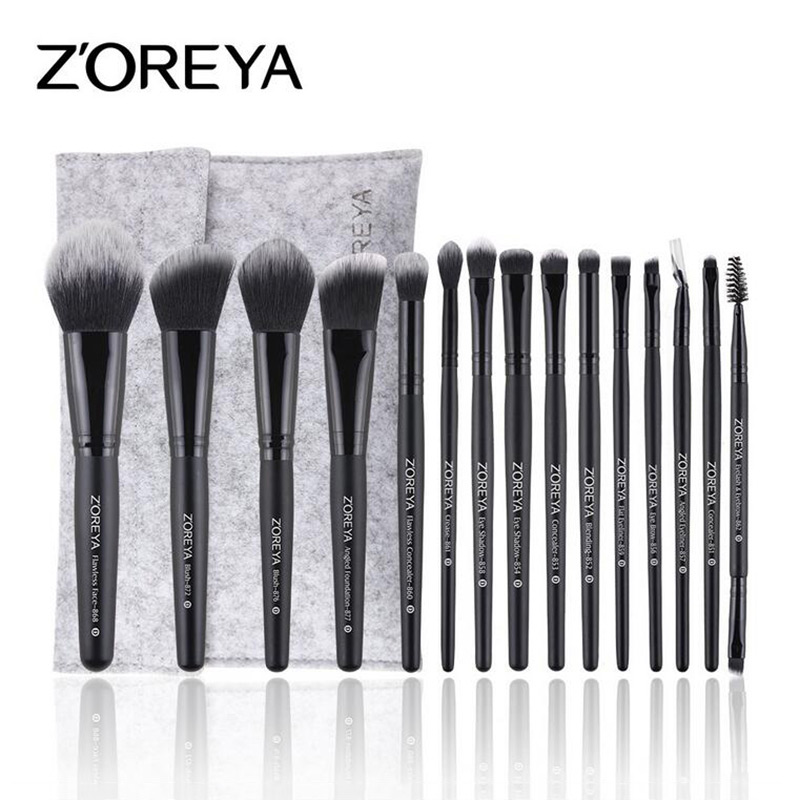 ZOREYA Brand 15PCS Black Makeup Brushes Set Eyebrow Eyeshadow Powder Foundation Concealer Blending Brush Pincel Maquiagem zoreya 18pcs makeup brushes professional make up brushes kits cosmetic brush set powder blush foundation eyebrow brush maquiagem