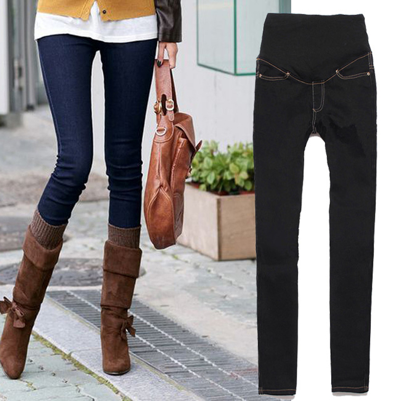 font b Pregnant b font Women Elastic Jeans Denim Pencil Pants Maternity Trousers US8 14
