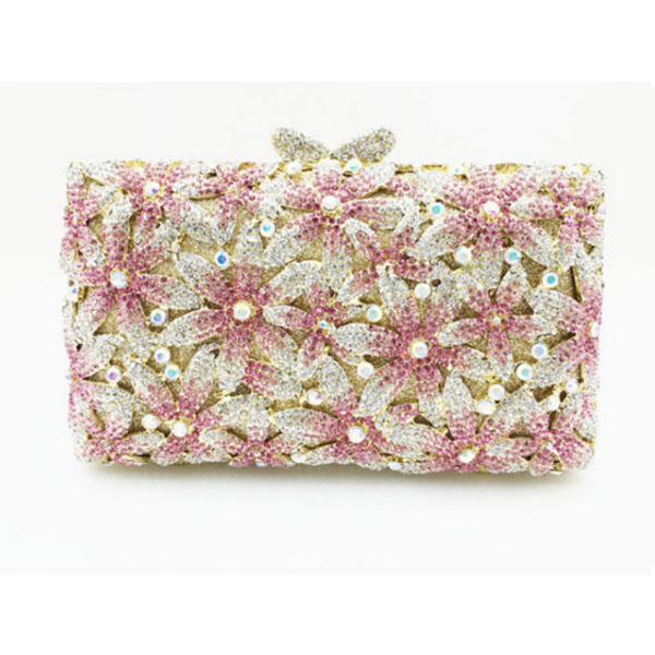 Golden Crystal l Flower Minaudiere Handbag Women Evening Clutches Bag Bridal Diamond Clutch Wedding Purse Metal Evening bags mini metal crystal diamond day clutches evening bags wedding dress bridal handbag clutch bags