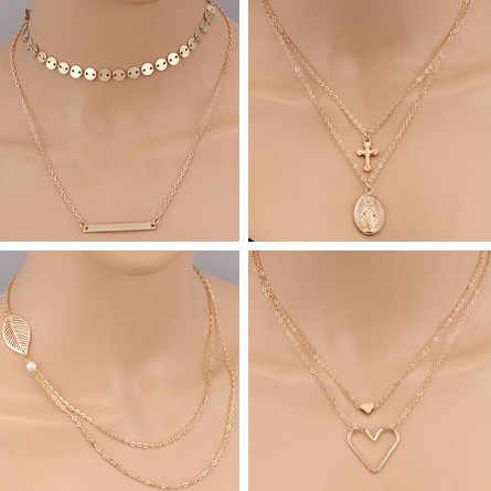 Tenande Simple Style Cross Moon Evil Eye Heart Simulated Pearl Chain Pendants Necklaces for Women Valentine's Day Gifts Bijoux