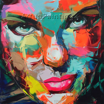 Palette knife painting portrait Palette knife Face Oil painting Impasto figure on canvas Hand painted Francoise Nielly 15-51