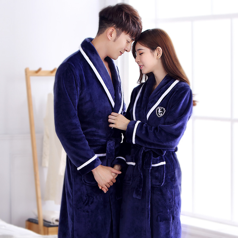 Coral Fleece Long Sleeve Soft Winter Bathrobe Couple Lover Nightwear