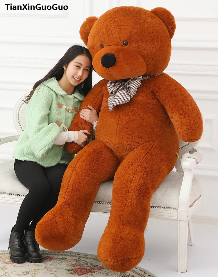 fillings toy dark brown Teddy bear plush toy stuffed bear huge 200cm soft doll hugging pillow Christmas gift b2801 купить
