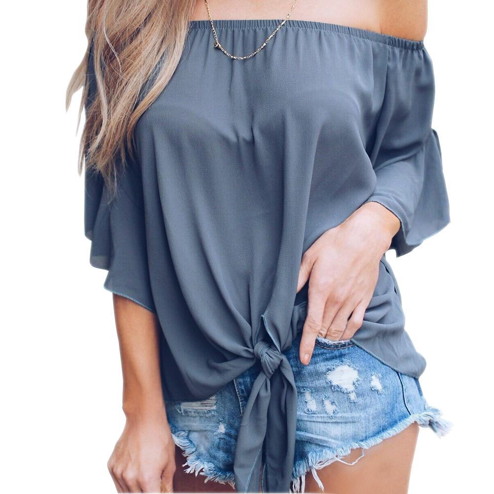 Women Chiffon Tops Casual Sexy Off-shoulder Bell Sleeve Wave-edge Off-neck Candy Color Summer Chiffon Blouses Tops
