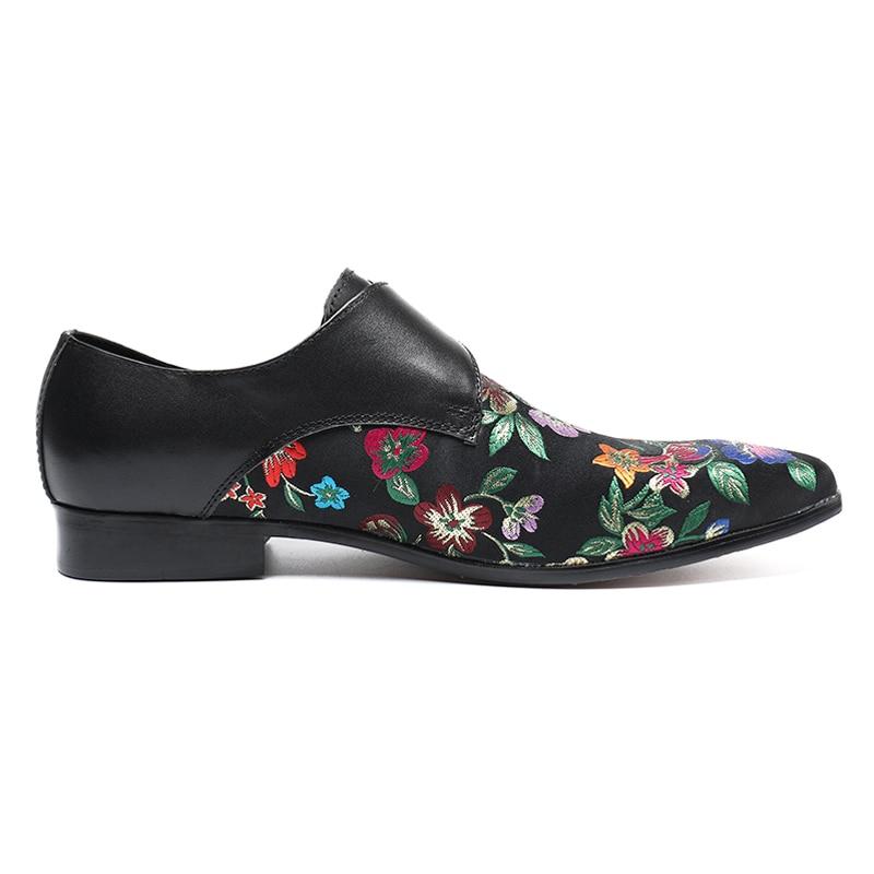 Piste Pour Noir Moderne Taille Bout Sl123 Véritable Sangle Club Élégant Mocassins Chaussures Noce Homme Moine De Cuir La Pointu En Plus Hommes FH16w6