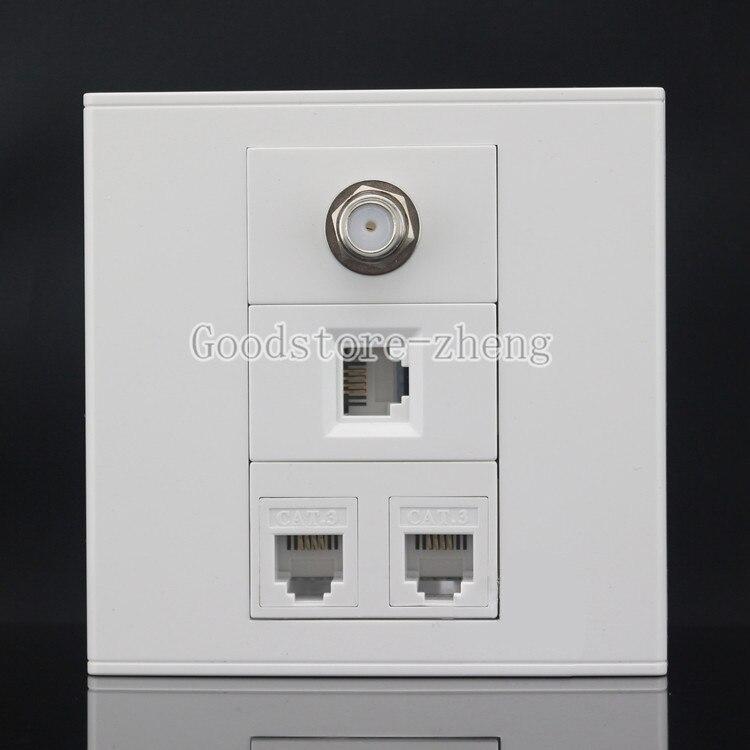 Wall Face Plate 4 Port F-TYPE COAX TV Adapter Connector + RJ11 Telphon Faceplate кабель антенный hama h 83190 coax m coax f 1 5m