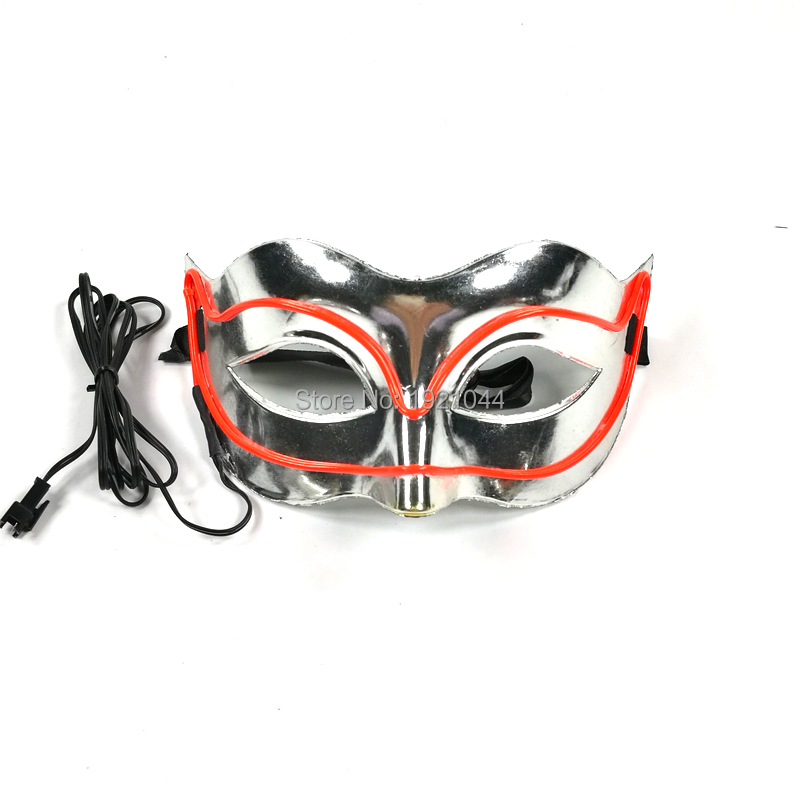 New EL Wire Mask for Festival Party Show Glowing Color Red With DC-3V Sound activated Inverter