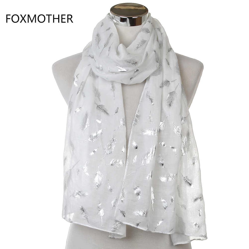 FOXMOTHER ücretsiz kargo moda bayan beyaz lacivert sarı bronzlaşmaya folyo gümüş tüy yüzük eşarp boyun eşarbı Glitter fular
