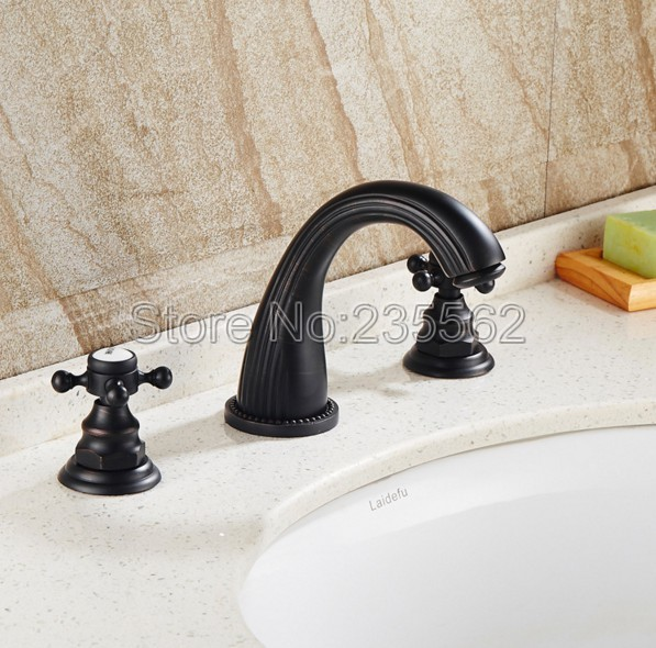 3 Hole Widespread Bathroom Basin Faucet Black Oil Rubbed Bronze Dual Cross Handle Sink / Tub Mixer Tap Deck Mounted lnf079 black oil rubbed bronze dual hole deck mounted bathroom faucet swivel spout wash basin mixer sink taps dual handle lhg072