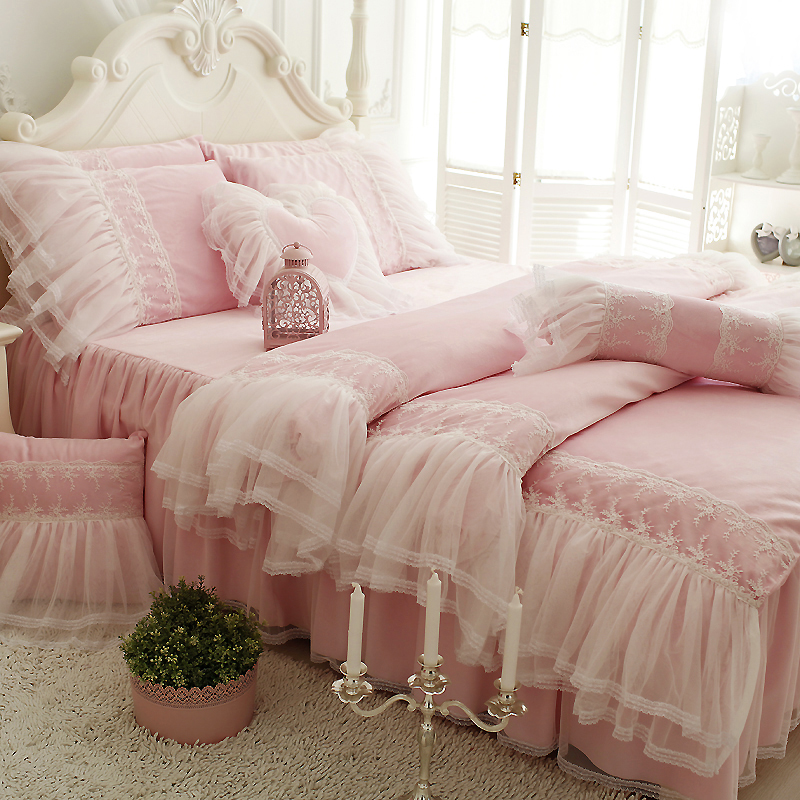 Winter Warm Fleece bedding set princess Coral fleece soft big ruffle white lace design duvet cover