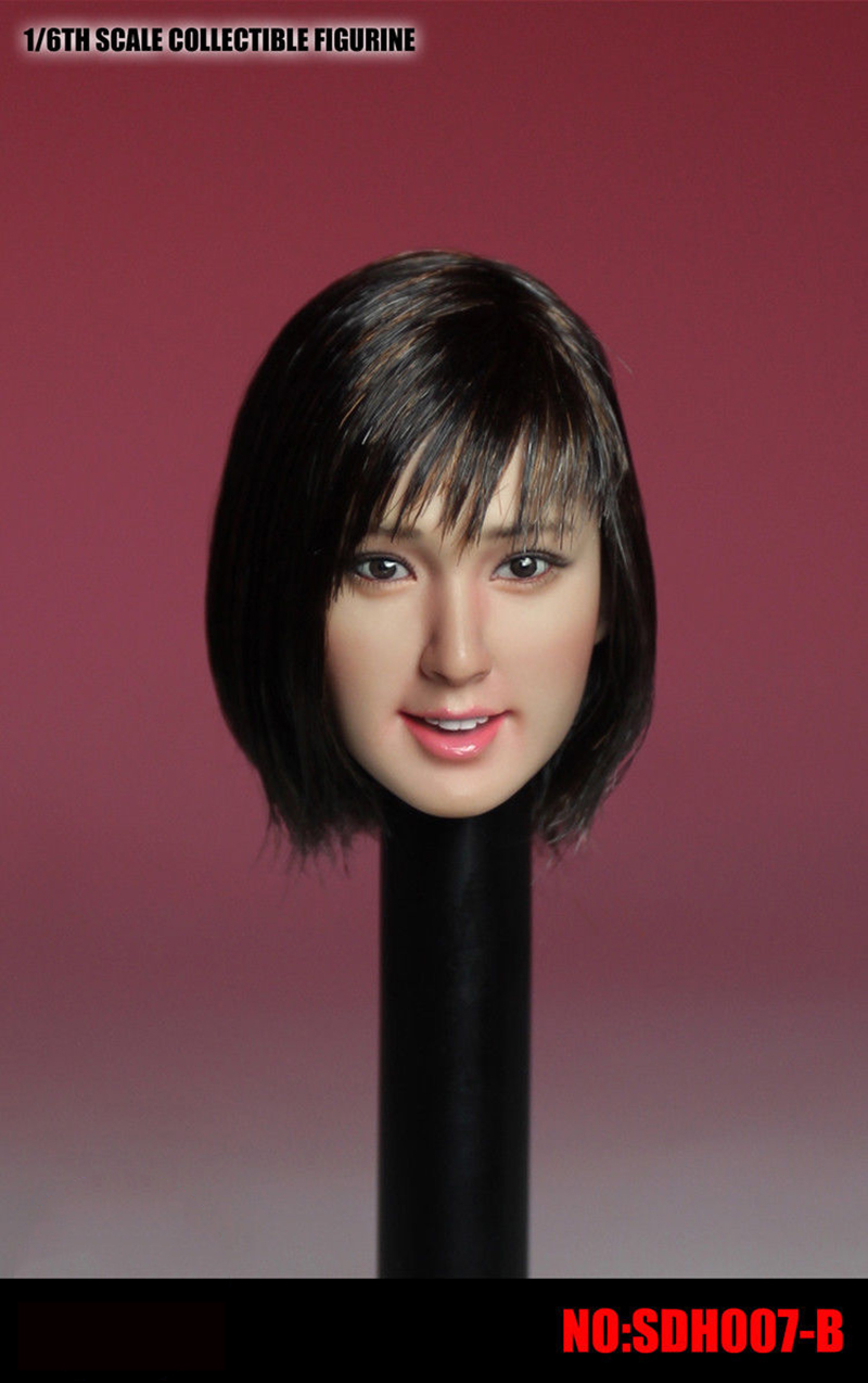 1 6 Scale SDH007 B Asia Beautiful Gird Head Sculpt Black Short Hair Head for 12
