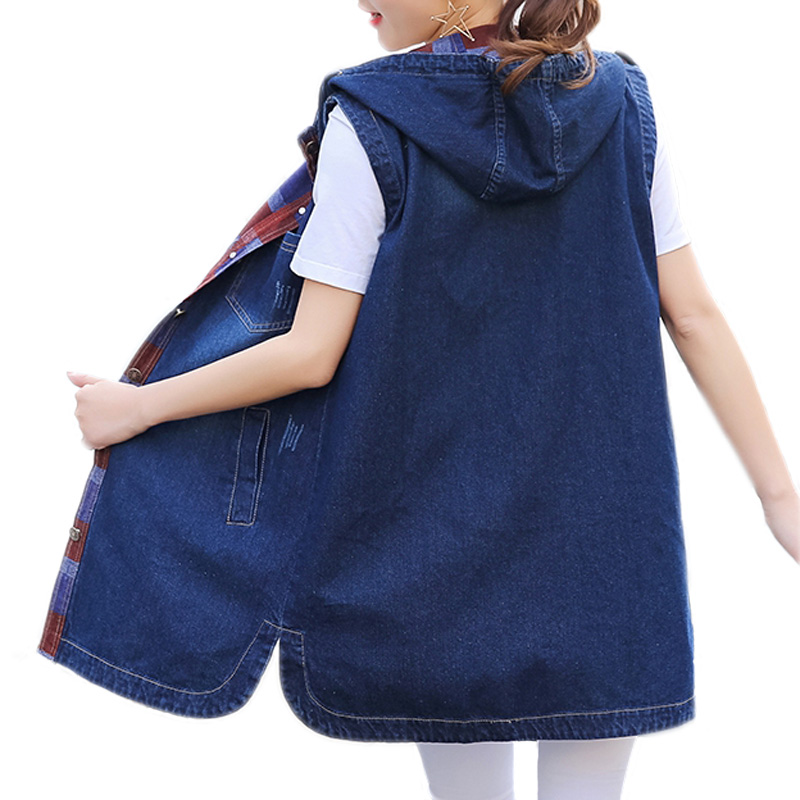 2018 Spring New Fashion Design Summer Hooded Denim Jacket Sleeveless Denim Vest Waistcoat Women ...