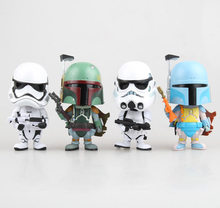 "Cute 4"" Star Wars White Soldier & Bounty Hunter Bobble Head Shaking Head Toy Model Car Decoration Boxed PVC Figure Doll(China)"