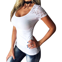 Women T Shirts Sexy Lace Splice Summer O Neck Short Sleeve Tee Shirts Casual Solid Tee