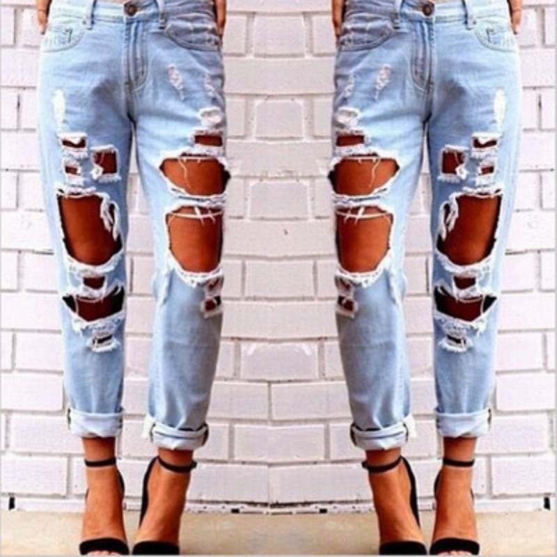 2017 Casual Pants Jeans For Women Torn Distressed Wrecked Slim Pants Jeans Boyfriend Jeans Pants Women Clothing Summer Trousers