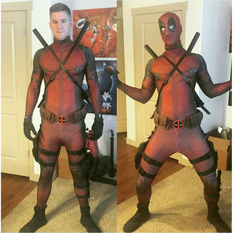free shipping Hot Marvel Halloween Cosplay Full Body Deadpool Costume Adult Digital Print Lycra Costume Kids Deadpool Cosplay