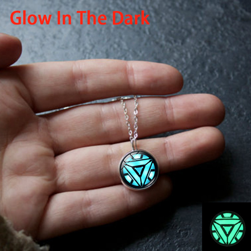 XUSHUI XJ Glow In The Dark Iron Man Arc Reactor Glass Cabochon Pendant necklace Silver Plated Jewelry luminous Necklace Women