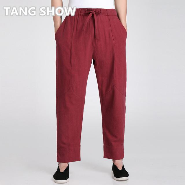 Vintage Hombres Chinos Borgoña de Tai Chi Pantalones de Algodón de Lino Kung Fu pantalón de Ocio Flojo Suave Pantalones Sml XL XXL XXXL 2606-4