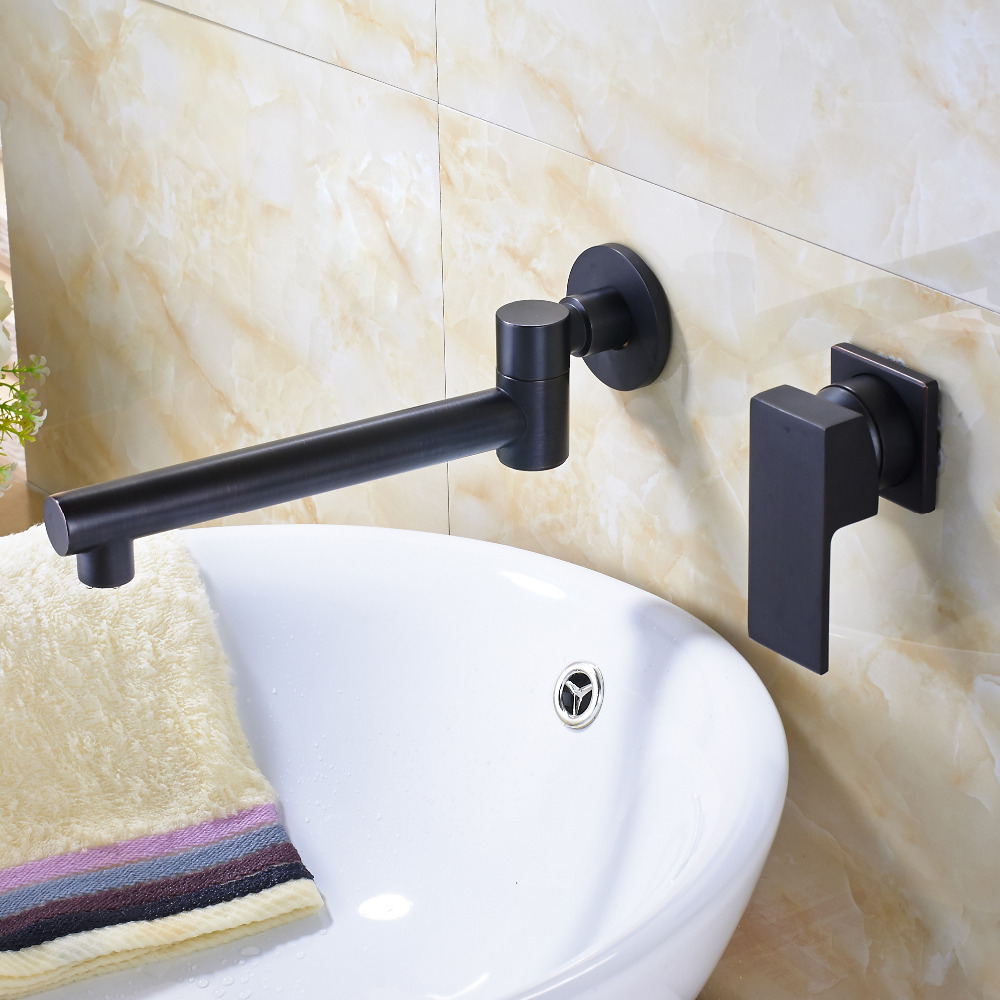 Modern Oil Rubbed Bonze Bathroon Basin Faucet Mixer Tap Ceramic Valve Wall Mount allen roth brinkley handsome oil rubbed bronze metal toothbrush holder