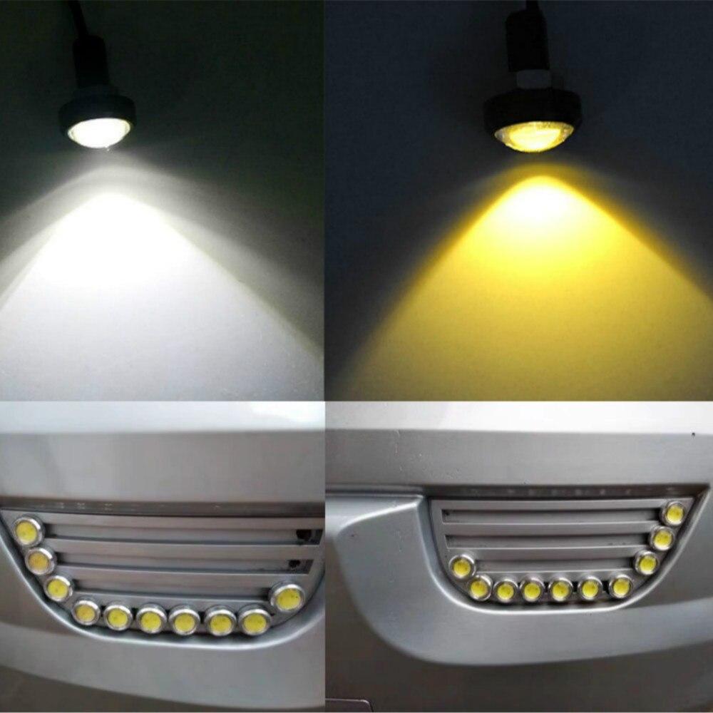 JURUS 1PCS 18-23mm Black/Sliver Led Eagle Eye COB DRL Daytime Running Light Auto Lamp External Lights Reverse Backup Signal
