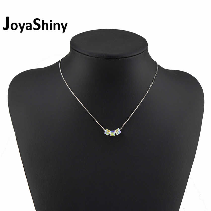 Joyashiny Simple Cube Beads Chain Necklaces Square Pendant Crystals From Swarovski Silver Color For Women Office Jewelry Gift