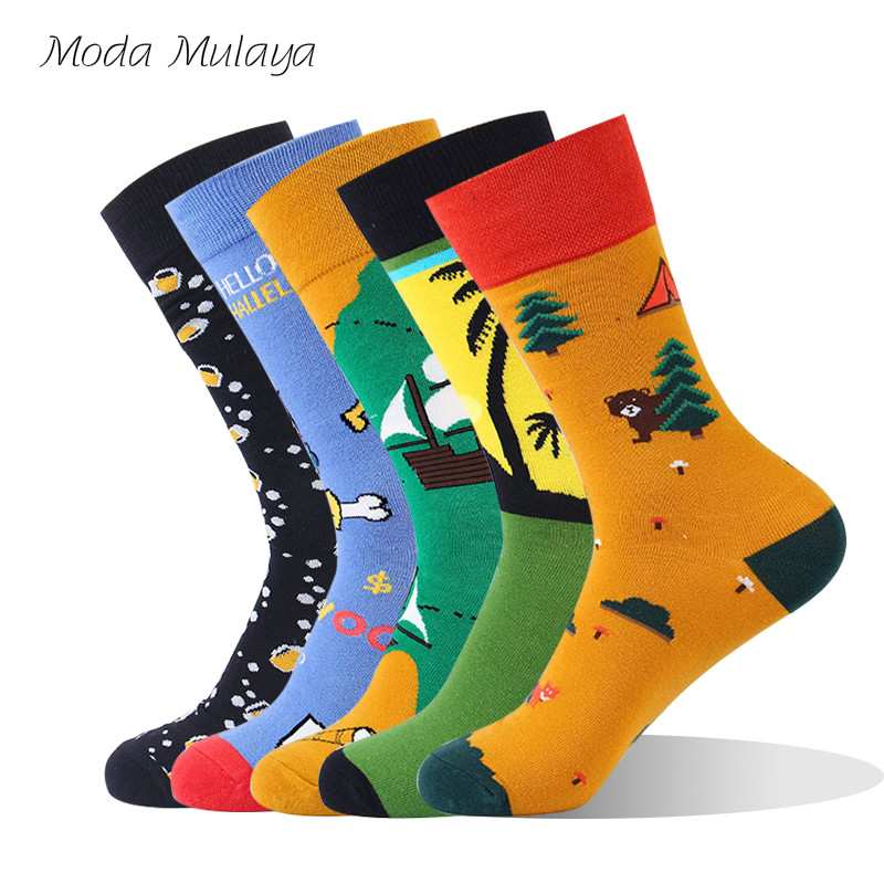New Arrival Men's Happy   Socks   Men 100% Cotton Thermal Colorful Funny   Socks   Hip Hop Calcetines Hombre Divertido Gift for Men