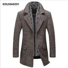 KOLMAKOV Новый осень зима для мужчин's шерстяной Тренч 2018 бренд мужчин s теплая ветровка шарф Съемная куртка человек пальто