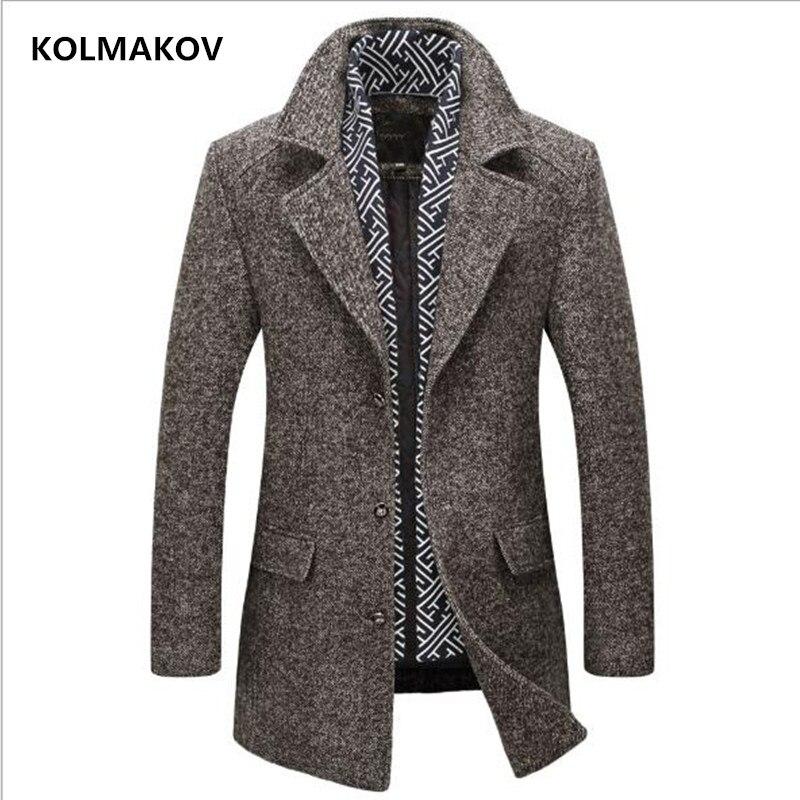 KOLMAKOV Nouvelle automne hiver Hommes de laine de tranchée Manteaux 2018 Marque Mens épaississent chaud Coupe-Vent écharpe amovible veste homme manteau