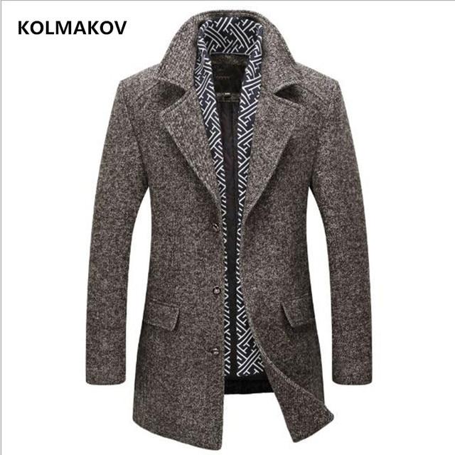 KOLMAKOV Новый осень зима мужское's шерстяной Тренч 2018 бренд мужчин s теплая ветровка шарф Съемная куртка человек пальто