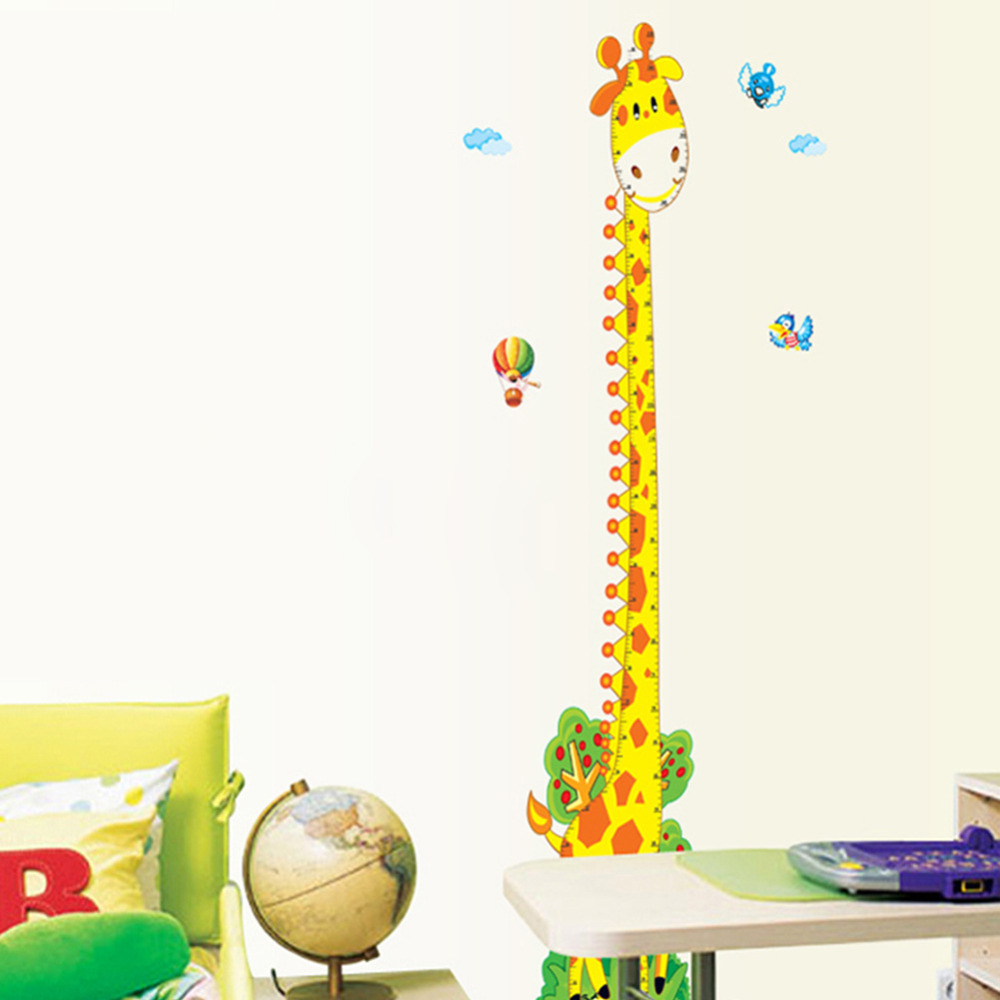Cartoon cute giraffe kids height growth charts wall stickers pvc cartoon cute giraffe kids height growth charts wall stickers pvc removable children room art decor decal in wall stickers from home garden on nvjuhfo Image collections
