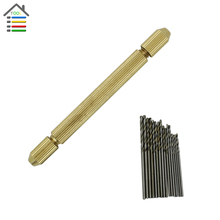 Brass Hand Drill Jewelry Craft Handle Pin Vise Hole Drill Burs Drilling Reamer Chuck with 16pc 0.8-1.5mm Micro Twist Drills