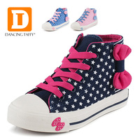 New 2015 Spring Canvas Children Shoes High Female Child Princess Single Shoes Dot Bow Tie Fashion