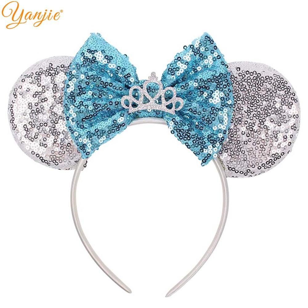 Minnie Mouse Ears Headband Festival DIY Hair Accessories Hairband Christmas Sequin Hair Bows For Girl&Women Accesorios Mujer