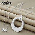 ANDARA Silver Fashion Necklace 925 Silver Sickle Jewelry Necklace Pendant 46cm Chain Necklaces N030