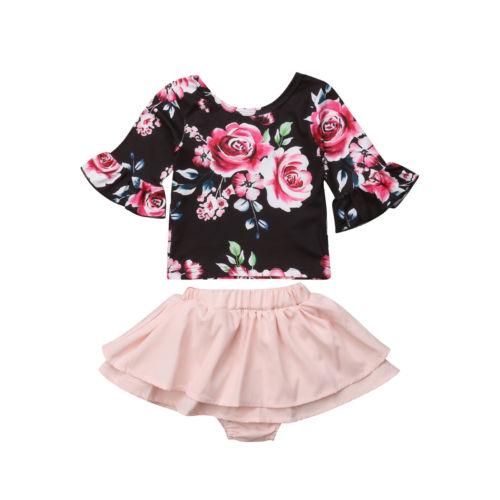 5a9e25cd28e0 Toddler Kids Baby Girls Clothes Sets Flower Tops T-shirt Skirt Ruffles Cute  Cotton Shorts