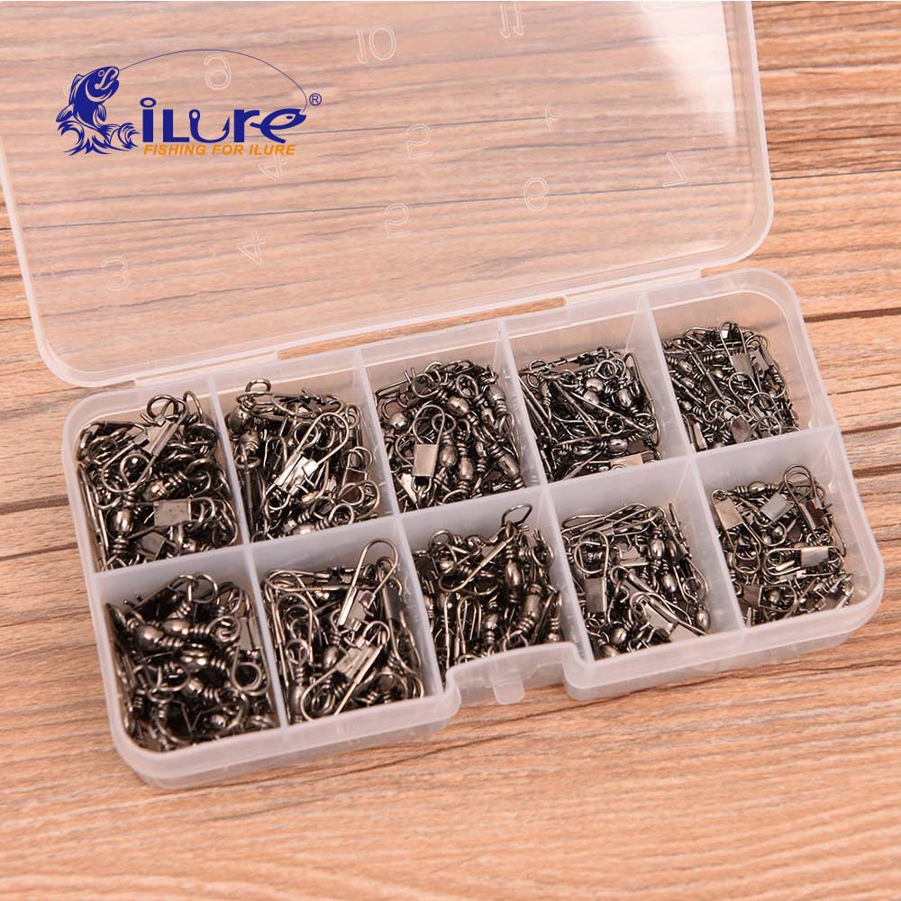 ILure 200 Pcs/boxes Fishing Accessories Swivels Rings Solid Fishing Connector Fishing Swivels Snap Connectors Fishing Tackle Box
