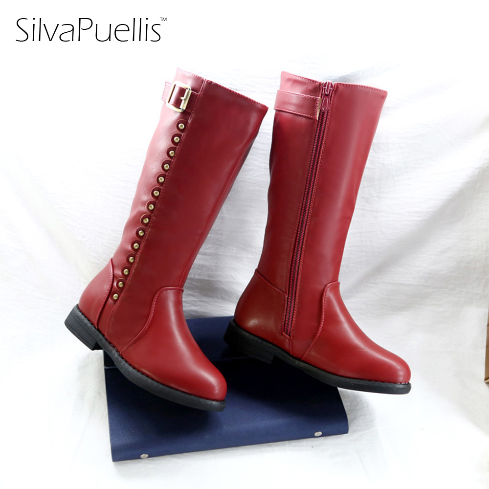 SilvaPuellis New Winter Warm Snow Boots For Children Round Toe Zipper Mid-Calf Flat Boots Girl Princess Red Boots silvapuellis 2017 new winter simple stylish snow boots for girls children princess rubber low heels warm boots